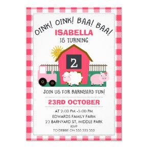 Girls Pink Barnyard Birthday Invitation
