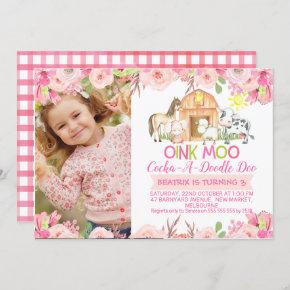 Girls Pink Barnyard Photo birthday invitation