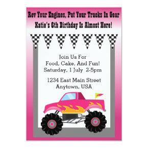 Girls Pink Monster Truck Party Invitation