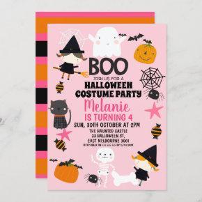 Girls Pink Orange Halloween Birthday Invitation