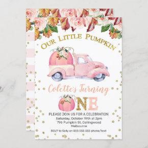 Girls Pink Pumpkin Truck 1st Birthday Invitation