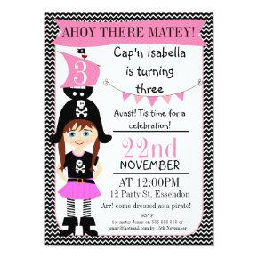 Girls Pirate 3rd Birthday Invitations