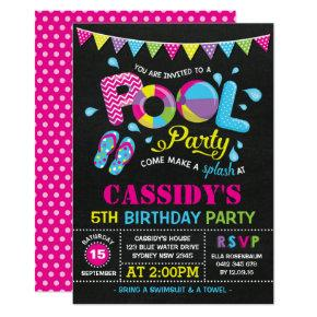 Girls Pool Party Birthday Chalkboard Invitations