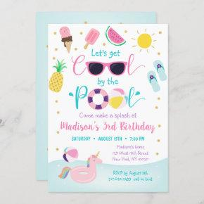 Girls Pool Party Let's Get Cool Birthday Invitation