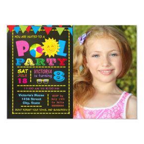 Girls Pool Party Pool Birthday Party Invitation