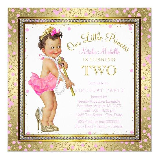 Girls Princess 2nd Birthday Party Pink Gold Invitations