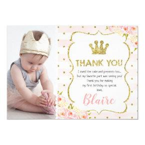Girl's princess crown 1st birthday thank you