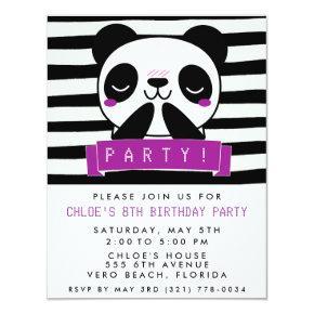 Girl's Purple and Black Cute Panda Birthday Party Invitations