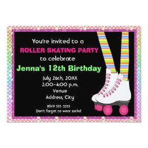 Girls Roller Skate Skating Birthday Invitations