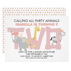 Girls Safari Animals 2nd Birthday Party Invitation