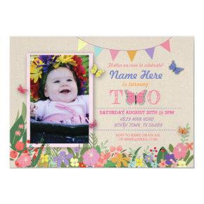 Girl's Second 2nd 2 Two Butterfly Birthday Invite