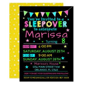 Girls Sleepover Birthday Invitations Slumber Party