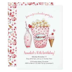Girls Slumber Party Hearts Birthday Invitation
