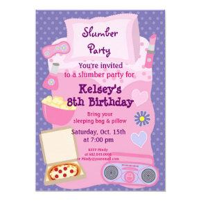Girls Slumber Party Sleepover Pajama Invitations