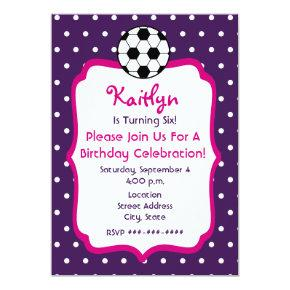 Girls Soccer Birthday Invite- Purple With Pink Invitation