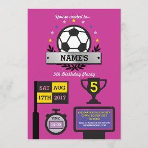 Girls Soccer Party Birthday Sports Pink Invite