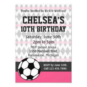 Girl's Soccer Party Custom Birthday Invitations