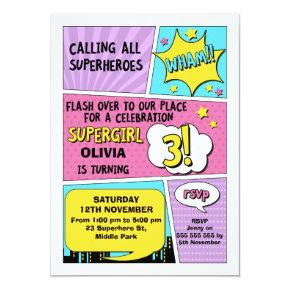 Girls Superhero 3rd Birthday Invitations