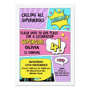 Girls Superhero 4th Birthday Invitation