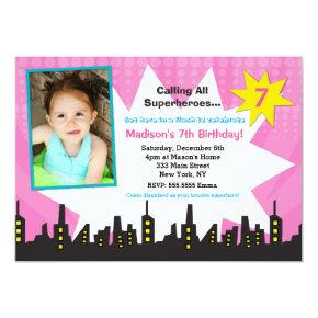 Girls  Superhero Photo Birthday Party Invitations