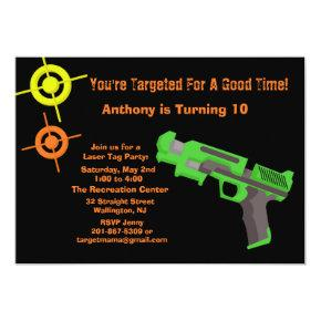 Girls Target Laser Tag Birthday Party Invitations