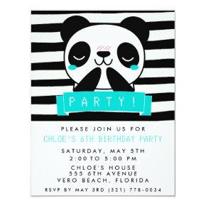 Girl's Teal and Black Cute Panda Birthday Party Invitations