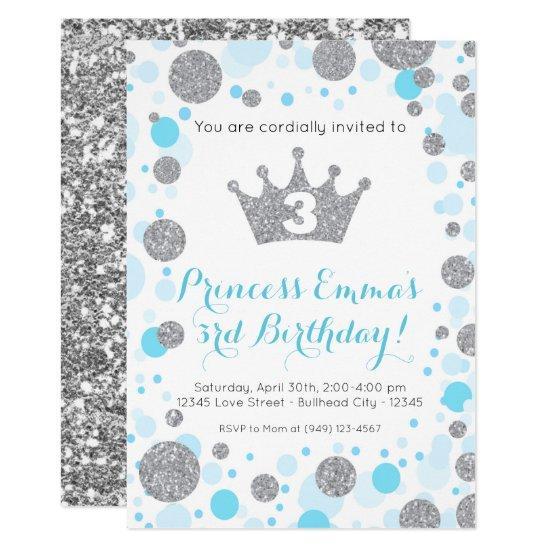 Girl's Teal Blue Silver Glitter Princess Birthday Invitation