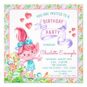 Girls Troll Birthday Party Invitations