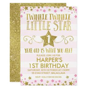 Girl's Twinkle Little Star 1st Birthday Invitation