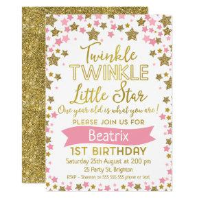 Girls Twinkle Little Star Birthday Invitations
