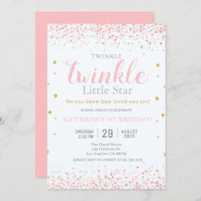 Girls Twinkle Little Star Pink & Gold 1st Birthday Invitation