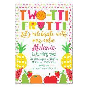 Girls Two-tii Fruit 2nd Birthday invitation