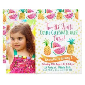 Girls Two-tti Frutti Photo 2nd Birthday Invitations