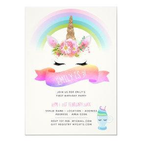 Girls Unicorn Birthday Invites - Pink Purple Gold