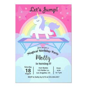 Girl's Unicorn Trampoline Jump Birthday Party Invitation