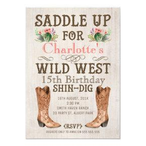 Girls Vintage Wild West Birthday Invitation