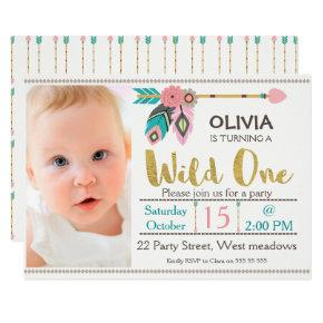 Girls Wild One Arrow 1st Birthday Invitations