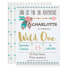 Girl's Wild One Tribal 1st Birthday Invitation