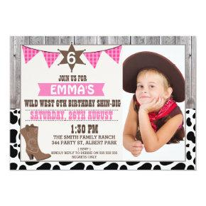 Girls Wild West Cowgirl Photo Birthday Invitations