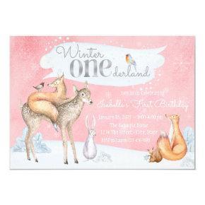 Girls Winter ONEderland Woodland 1st Birthday Invitation