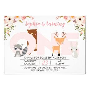 Girls Woodland Animals 1st Birthday Invitations