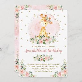 Girly Baby Giraffe Blush Gold Floral 1st Birthday Invitation