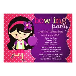 Girly Bowling Birthday Party Invitation
