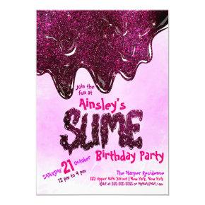 Girly Cute Pink Sparkly Glitter Slime Birthday Invitation
