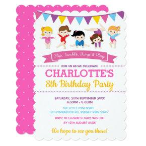Girly Gymnastics Birthday Pink Gym Party Invitation