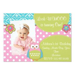Girly Hoot Owl Design Birthday Invitations