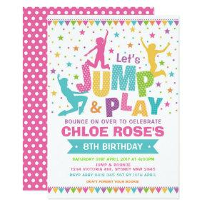 Girly Jump Birthday Party Bounce House Trampoline Invitation