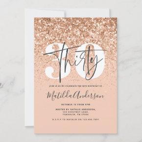Girly modern peach glitter typography 30 birthday