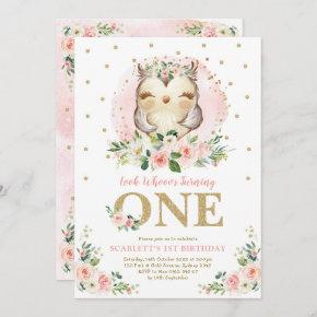 Girly Owl Blush Pink Floral 1st Birthday Party Invitation