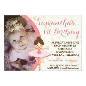 Girly Pink and Dreamy Ballerina Invitation